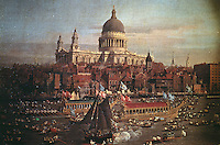 """London:  Painting of """"St. Paul's Cathedral"""" by Canaletto.   Reference only."""