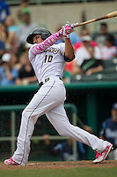 San Antonio Missions outfielder Hunter Renfroe (10) follows through on his swing during the Texas League baseball game against the Corpus Christi Hooks on May 10, 2015 at Nelson Wolff Stadium in San Antonio, Texas. The Missions defeated the Hooks 6-5. (Andrew Woolley/Four Seam Images)