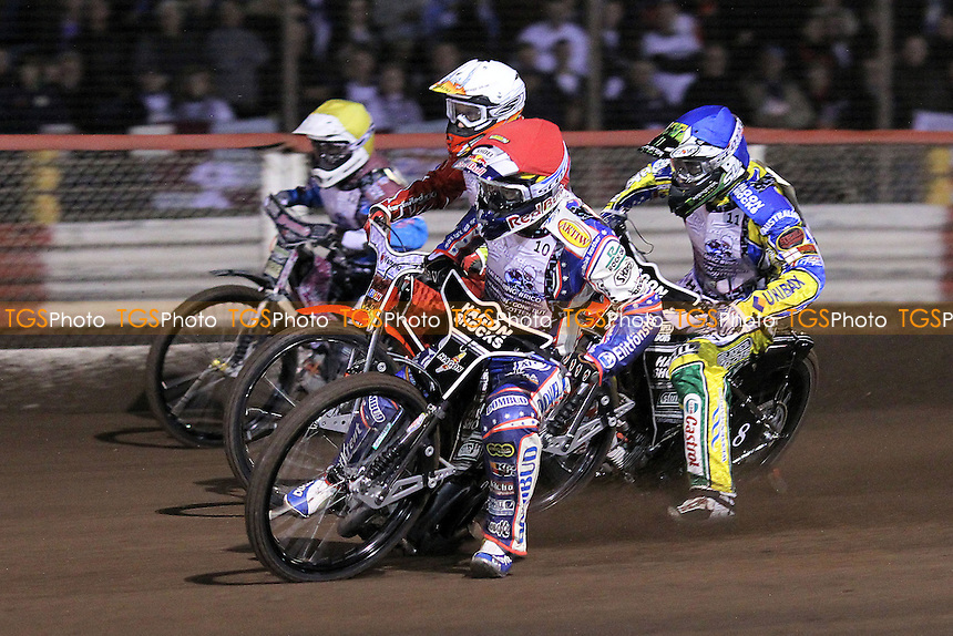 Heat 3: Jason Crump (red), Chris Holder (blue), Rob Mear (yellow) and Andreas Jonsson (white) - Lee Richardson Memorial Speedway Meeting at Arena Essex Raceway, Purfleet - 28/09/12 - MANDATORY CREDIT: Gavin Ellis/TGSPHOTO - Self billing applies where appropriate - 0845 094 6026 - contact@tgsphoto.co.uk - NO UNPAID USE.