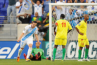 Jose Javier Del Aguila (19) of Guatemala celebrates scoring during a CONCACAF Gold Cup group stage match at Red Bull Arena in Harrison, NJ, on June 13, 2011.