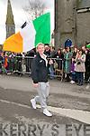 Irish U/17 soccer captain Savannah McCarthy who led the Listowel Celtic enrty in the Listowel parade.