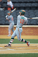 JP Gates (10) of the Miami Hurricanes follows through on his swing against the Wake Forest Demon Deacons at David F. Couch Ballpark on May 11, 2019 in  Winston-Salem, North Carolina. The Hurricanes defeated the Demon Deacons 8-4. (Brian Westerholt/Four Seam Images)
