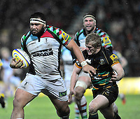 Northampton, England. James Johnston of Harlequins charges forward during the Aviva Premiership match between Northampton Saints and Harlequins at Franklin's Gardens on December 22. 2012 in Northampton, England.