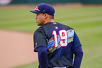 Cedar Rapids Kernels outfielder Alex Kirilloff (19) warms up prior to a Midwest League game against the Kane County Cougars on April 21, 2018 at Perfect Game Field at Veterans Memorial Stadium in Cedar Rapids, Iowa. Kane County defeated Cedar Rapids 9-2. (Brad Krause/Four Seam Images)