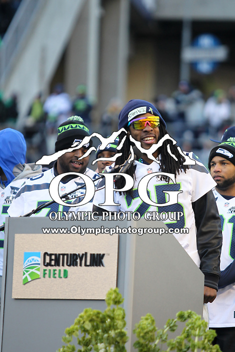 2014-02-05:  Seattle Seahawks corner back #25 Richard Sherman thanked the 12th Man fans. Seattle Seahawks players and 12th man fans celebrated bringing the Lombardi trophy home to Seattle during the Super Bowl Parade at Century Link Field in Seattle, WA.