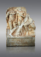 Roman Sebasteion relief  sculpture of  Three Heroes and a Dog Aphrodisias Museum, Aphrodisias, Turkey.<br /> <br /> Two heroes stand in front of a third hero who ia seated on a rock and pats the head of a bitch hound. They are hunters and the relief is partnered by the reliefs of Melager and Atalante and Meleaner and boar