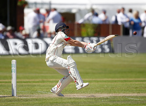18.07.2016. Southport and Birkdale Cricket Club, Southport, England. Specsavers County Championship Cricket. Lancashire versus Durham. Lancashire wicket-keeper Tom Moores pulls the ball for two runs.