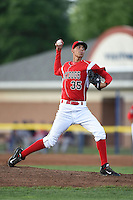 Batavia Muckdogs pitcher Jorgan Cavanerio (35) delivers a pitch during a game against the State College Spikes on July 3, 2014 at Dwyer Stadium in Batavia, New York.  State College defeated Batavia 7-1.  (Mike Janes/Four Seam Images)