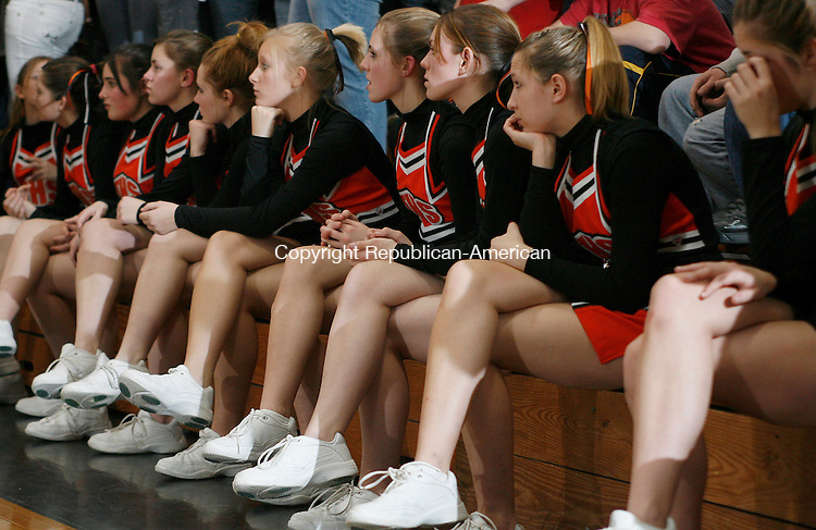 Terryville, CT-06 JANUARY 26 2007-012607MK14  Terryville's boys basketball cheerleaders react to the immient loss to Gilbert during Berkshire League action Friday Night at Terryville High School.  The Gilbert Yellow Jackets defeated the Terryville Kangaroos  51 - 37 . Michael Kabelka Republican / American