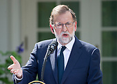 President of the Government or Prime Minister Mariano Rajoy of Spain conducts a joint press conference with United States President Donald J. Trump in the Rose Garden of the White House in Washington, DC on Tuesday, September 26, 2017.<br /> Credit: Ron Sachs / CNP
