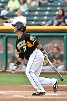 Luis Jimenez (7) of the Salt Lake Bees at bat against the El Paso Chihuahuas in Pacific Coast League action at Smith's Ballpark on August 7, 2014 in Salt Lake City, Utah.  (Stephen Smith/Four Seam Images)