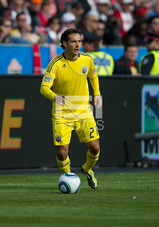 23 April 2011: Columbus Crew defender Sebastian Miranda #21in action during a game between the Columbus Crew and the Toronto FC at BMO Field in Toronto, Ontario Canada..The game ended in a 1-1 draw.