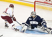 Johnny Gaudreau (BC - 13) scored on Casey DeSmith (UNH - 29) just 1:07 into the first period. - The Boston College Eagles defeated the visiting University of New Hampshire Wildcats 6-2 on Friday, December 6, 2013, at Kelley Rink in Conte Forum in Chestnut Hill, Massachusetts.