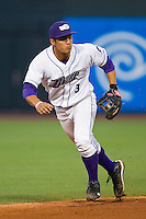 Shortstop Tyler Saladino #3 of the Winston-Salem Dash tracks a ground ball against the Kinston Indians at BB&T Ballpark on June 4, 2011 in Winston-Salem, North Carolina.   Photo by Brian Westerholt / Four Seam Images