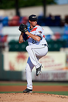 Lakeland Flying Tigers pitcher Spenser Watkins (21) during a Florida State League game against the Fort Myers Miracle on August 3, 2019 at Publix Field at Joker Marchant Stadium in Lakeland, Florida.  The Flying Tigers wore special jerseys honoring Roberto Clemente with his number and the flag from Puerto Rico on front.  Lakeland defeated Fort Myers 4-3.  (Mike Janes/Four Seam Images)