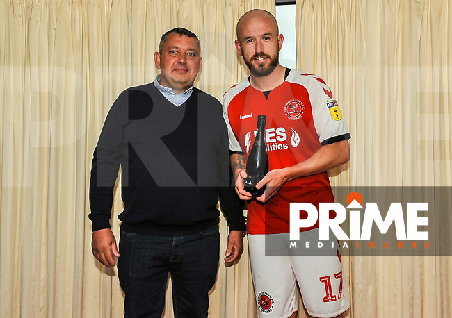 Fleetwood Town's forward Patrick Madden (17) presented by man of the match by the sponsor during the Sky Bet League 1 match between Fleetwood Town and AFC Wimbledon at Highbury Stadium, Fleetwood, England on 10 August 2019. Photo by Stephen Buckley / PRiME Media Images.