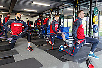 (L-R) Kyle Bartley, Sam Clucas and Andy King exercise in the gym during the Swansea City Training at The Fairwood Training Ground, Swansea, Wales, UK. Thursday 15 February 2018