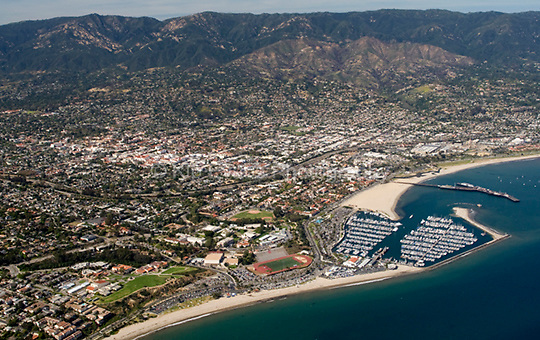 View of the Santa Barbara Harbor from the air looking north. With over 1100 slips accommodating boats from 20 feet to 150 feet long, Santa Barbara Harbor is an ideal home or cruising destination (SantaBarbaraHarbor.com).