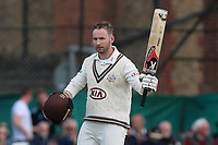 Mark Stoneman of Surrey celebrates scoring a century, 100 runs during Surrey CCC vs Essex CCC, Specsavers County Championship Division 1 Cricket at Guildford CC, The Sports Ground on 9th June 2017