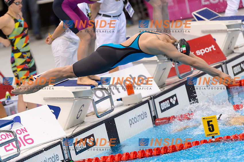 ITALY ITA Silver Medal <br /> DI PIETRO Silvia FERRAIOLI Erika PEZZATO Aglaia <br /> PELLEGRINI Federica <br /> Women 4x100m Freestyle Relay Final <br /> London, Queen Elizabeth II Olympic Park Pool <br /> LEN 2016 European Aquatics Elite Championships <br /> Diving  <br /> Day 08 16-05-2016<br /> Photo Andrea Staccioli/Deepbluemedia/Insidefoto