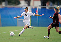 Florida International University women's soccer player April Perry (6)  plays against the University of Denver on October 16, 2011 at Miami, Florida. FIU won the game 1-0. .