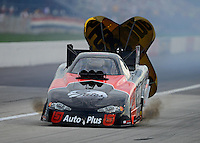 Aug. 31, 2012; Claremont, IN, USA: NHRA funny car driver Blake Alexander during qualifying for the US Nationals at Lucas Oil Raceway. Mandatory Credit: Mark Rebilas-