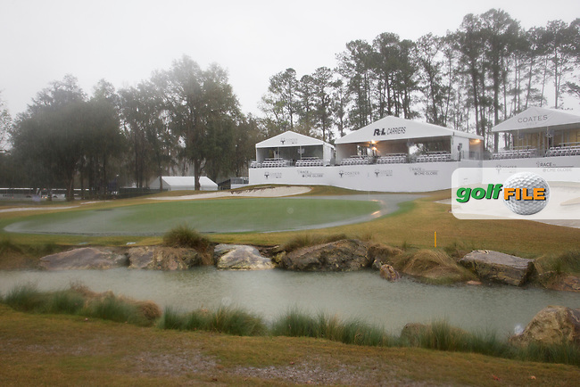 The 18th green,  after play is suspeded for the day due to heavy rain during the Second round of the LPGA Coates Golf Championship 2016 , from the Golden Ocala Golf and Equestrian Club, Ocala, Florida. 4/2/16<br /> Picture: Mark Davison | Golffile<br /> <br /> <br /> All photos usage must carry mandatory copyright credit (&copy; Golffile | Mark Davison)