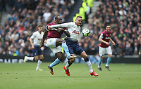 West Ham United's Michail Antonio and Tottenham Hotspur's Vincent Janssen<br /> <br /> Photographer Rob Newell/CameraSport<br /> <br /> The Premier League - Tottenham Hotspur v West Ham United - Saturday 27th April 2019 - White Hart Lane - London<br /> <br /> World Copyright © 2019 CameraSport. All rights reserved. 43 Linden Ave. Countesthorpe. Leicester. England. LE8 5PG - Tel: +44 (0) 116 277 4147 - admin@camerasport.com - www.camerasport.com
