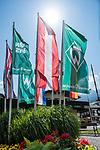 04.07.2019, Zell am Ziller, AUT, TL Werder Bremen Zell am Ziller / Zillertal Tag 00<br /> <br /> im Bild<br /> Werder-Fahnen vor der Touristen-Information in Zell am Ziller, <br /> <br /> Foto © nordphoto / Ewert