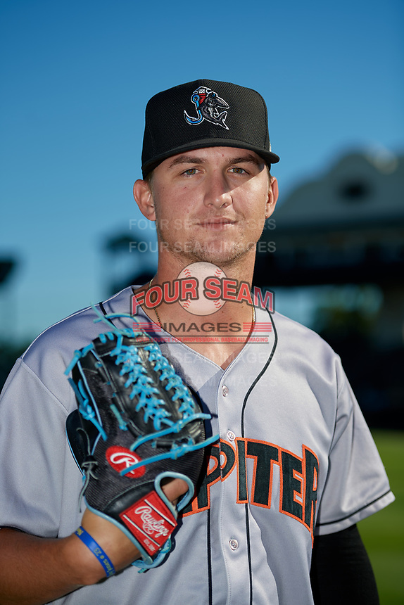 Jupiter Hammerheads pitcher Braxton Garrett (22) poses for a photo before a Florida State League game against the Bradenton Marauders on April 20, 2019 at LECOM Park in Bradenton, Florida.  Bradenton defeated Jupiter 3-2.  (Mike Janes/Four Seam Images)