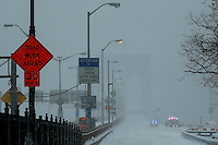 The Brooklyn bridge car entrance is seen empty during the pass of the winter storm JONAS, in New York, 01/23/2016. Photo by VIEWpress