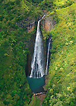 Jurassic Park Waterfall<br /> Aerial photo via helicopter with the doors off! Jack Harter Helicopters rock!<br /> Kauai, Hawaii