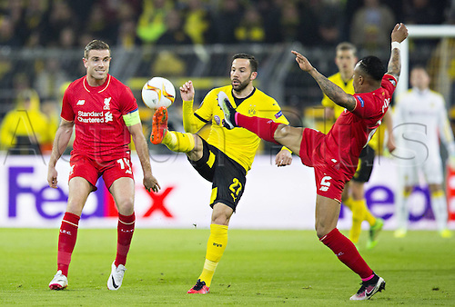 07.04.2016. Dortmund, Germany. Europa League quarterfinal. Borussia Dortmund versus Liverpool FC at the Signal Iduna Park Dortmund.  Gonzalo Castro (BvB) challenges with Clyne and Henderson of Liverpool