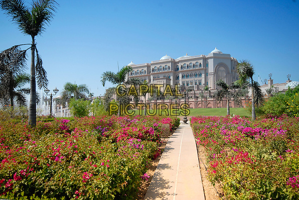 EMIRATES PALACE HOTEL  .At the Middle East International Film Festival (MEIFF) in Abu Dhabi, United Arab Emirates..October 14th, 2007.atmosphere gv general view palm trees building flowers .CAP/IA.©Ian Allis/Capital Pictures