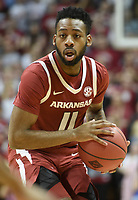NWA Democrat-Gazette/CHARLIE KAIJO Arkansas Razorbacks guard Keyshawn Embery-Simpson (11) looks to pass during the first half of the NCAA National Invitation Tournament, Saturday, March 23, 2019 at the Simon Skjodt Assembly Hall at the University of Indiana in Bloomington, Ind. The Arkansas Razorbacks fell to the Indiana Hoosiers 63-60.
