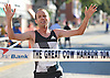 Aaron Braun of Flagstaff, AZ reacts as he wins Northport's annual Cow Harbor 10K run on Saturday, Sept. 17, 2016. He finished with a time of 29:23.92.