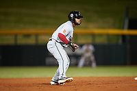 Scottsdale Scorpions Heliot Ramos (24), of the San Francisco Giants organization, leads off second base during an Arizona Fall League game against the Mesa Solar Sox on September 18, 2019 at Sloan Park in Mesa, Arizona. Scottsdale defeated Mesa 5-4. (Zachary Lucy/Four Seam Images)