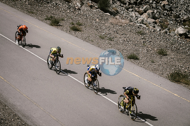 The breakaway including Romain Cardis (FRA) Direct Energie, Kenneth Van Rooy (BEL) Sport Vlaanderen-Baloise, Julien Mortier (BEL) Wallonie Bruxelles and Stijn Steels (BEL) Roompot-Charles during Stage 5 of the 10th Tour of Oman 2019, running 152km from Samayil to Jabal Al Akhdhar (Green Mountain), Oman. 20th February 2019.<br /> Picture: ASO/P. Ballet | Cyclefile<br /> All photos usage must carry mandatory copyright credit (© Cyclefile | ASO/P. Ballet)