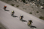 The breakaway including Romain Cardis (FRA) Direct Energie, Kenneth Van Rooy (BEL) Sport Vlaanderen-Baloise, Julien Mortier (BEL) Wallonie Bruxelles and Stijn Steels (BEL) Roompot-Charles during Stage 5 of the 10th Tour of Oman 2019, running 152km from Samayil to Jabal Al Akhdhar (Green Mountain), Oman. 20th February 2019.<br /> Picture: ASO/P. Ballet | Cyclefile<br /> All photos usage must carry mandatory copyright credit (&copy; Cyclefile | ASO/P. Ballet)