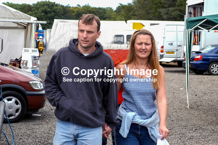 Bruce Anstey, New Zealand rider, and girlfriend, Annie Ramsey, from Southport, Lancashire, England. Taken at Ulster Grand Prix practice day. Ref: 200208150370...Copyright Image from Victor Patterson, 54 Dorchester Park, Belfast, UK, BT9 6RJ..Tel: +44 28 9066 1296.Mob: +44 7802 353836.Voicemail +44 20 8816 7153.Skype: victorpattersonbelfast.Email: victorpatterson@mac.com.Email: victorpatterson@ireland.com (back-up)..IMPORTANT: If you wish to use this image or any other of my images please go to www.victorpatterson.com and click on the Terms & Conditions. Then contact me by email or phone with the reference number(s) of the image(s) concerned.