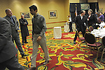 Governor Bobby Jindal of Louisiana exits the Marriott Ballroom in Cedar Rapids, Iowa after participating in an Iowa flood victims breakfast fundraiser on November 22, 2008.