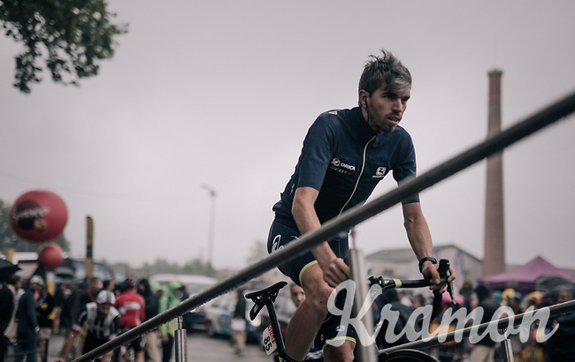 Damien Howson (AUS/ORICA-Scott) on the sign-on podium<br /> <br /> 104th Tour de France 2017<br /> Stage 12 - Pau &rsaquo; Peyragudes (214km)