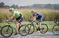 Sep Vanmarcke (BEL/Cannondale-Drapac) &amp; Jens Keukeleire (BEL/Orica-Scott) sharing a (good) joke mid-race<br /> <br /> 98th Milano - Torino 2017 (ITA) 186km