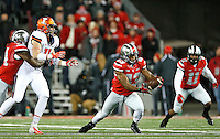 Ohio State Buckeyes linebacker Darron Lee (43) comes up with the interception in the first quarter of the game at Ohio Stadium on November 1, 2014. (Chris Russell/Dispatch Photo)