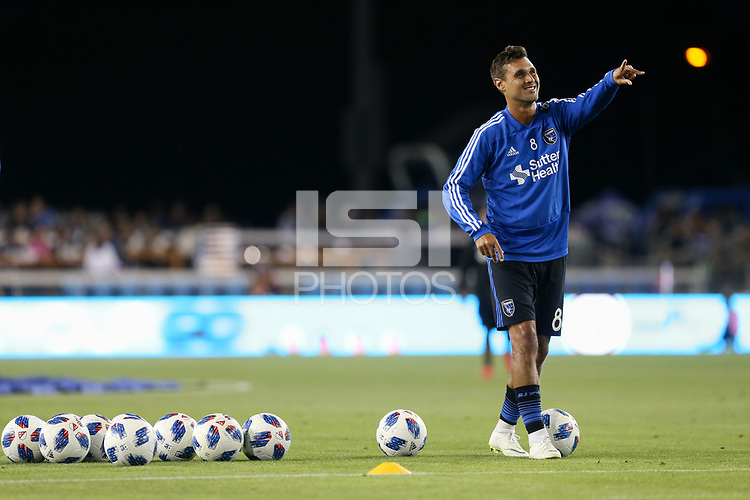 San Jose, CA - Saturday October 06, 2018: Chris Wondolowski prior to a Major League Soccer (MLS) match between the San Jose Earthquakes and the New York Red Bulls at Avaya Stadium.