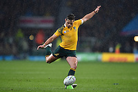 Bernard Foley of Australia kicks for the posts. Rugby World Cup Quarter Final between Australia and Scotland on October 18, 2015 at Twickenham Stadium in London, England. Photo by: Patrick Khachfe / Onside Images