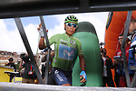 Nairo Quintana (COL) Movistar Team wearing the Green Jersey at sign on before Stage 15 of La Vuelta 2019  running 154.4km from Tineo to Santuario del Acebo, Spain. 8th September 2019.<br /> Picture: Luis Angel Gomez/Photogomezsport | Cyclefile<br /> <br /> All photos usage must carry mandatory copyright credit (© Cyclefile | Luis Angel Gomez/Photogomezsport)