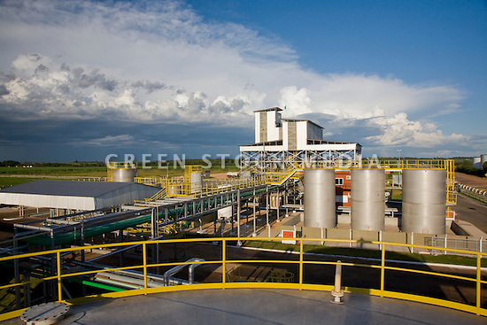 Wide shot from the top of a biodiesel storage tank showing Barralcool's biodiesel production plant located in the town of Barra do Bugres in the Mato Grosso region of Brazil. Contact Green Stock Media to view additional images from this photo shoot. Image size: 4368 x 2912 pixels, very high resolution, 12.8 megapixels