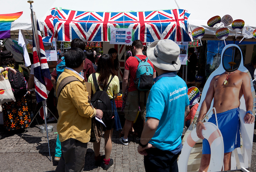 The British embassy stall at Tokyo Rainbow Pride festival, Yoyogi Park, Tokyo, Japan. Sunday April 27th 2014 This was the third year this annual gay-pride event has been held in Japan capital.with food, fashion and health care stalls and musical performances set up in Yoyogi Park event square and a colourful parade around Shibuya at 1pm.