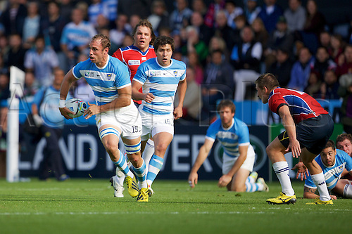 11.10.2015. King Power Stadium, Leicester, England. Rugby World Cup. Argentina versus Namibia. Argentina number 8 Leonardo Senatore with the ball.